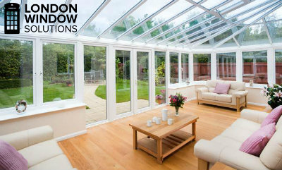 residential property with conservatory types of windows