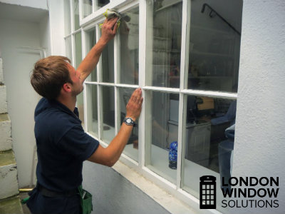 external window cleaning in process